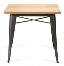 Tolix Style Square Metal Dining Table Graphite Grey With Solid Oak Top 1/2 Price Deal